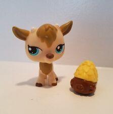 Littlest Pet Shop #1316 Billy Goat Tan Beige Gold Horns Blue Eyes Hay Accessory