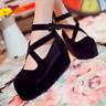 Womens Mary Jane Lolita Ankle Cross Strap High Heel Creeper Platform Shoes Pumps