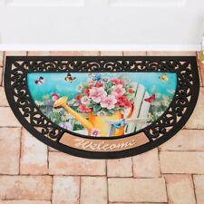 Watering Can W/ Flowers & Butterflies Slice Welcome Door Mat w/ Scroll Border
