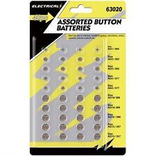 Assortiment de 40 bouton cellule montre piles AG1/3/4/10/12/13 - individuellement scellées
