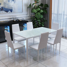 6bdeb0f4aeb1 Rectangle Glass Dining Table And Faux Leather Chair White 6 Chairs Furniture  Set