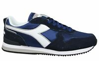 Diadora Olympia Leather Navy Low Lace Up Mens Running Trainers 60024