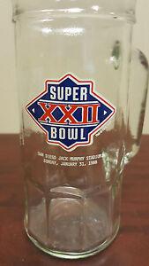 1988 Super Bowl XXII Souvenir Beer Glass Stein San Diego Washington Redskins B19