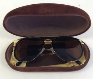 Tom Ford Tripp Sunglasses TF 666 01G Black Gold Oversize Style With Case + Cloth