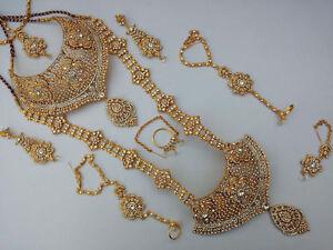 Jodha's Gold Plated Bridal Kundan Zerconic Jewelry Set All Accessories ES1