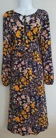 Womens TU Blue Mustard Floral Tie Neck Stretch Boho Folk Midi Tea Dress 14 New.