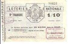 LOTERIE NATIONALE - N° 1264777 DE 1937