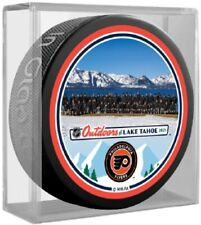 Philadelphia Flyers Lake Tahoe NHL Outdoors Team Photo Puck (in Display Cube)
