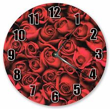 "10.5"" ROSES WALLPAPER CLOCK - Large 10.5"" Wall Clock - Home Décor - 3158"