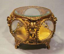 Old Gilt Metal Ormolu Magnolia Flower Beveled Glass Jewelry Box Vanity Casket