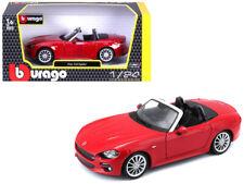 1/24 Bburago Fiat 124 Spider Coupe Diecast Model Car Red 18-21083
