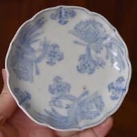 LOVELY ANTIQUE JAPANESE BLUE WHITE PORCELAIN SCALLOPED EDGE SAUCER