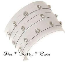 Rhodium Plated Crystal Leather Costume Bracelets