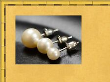 Sweet Faux Pearl Round Silver Stud Earrings Girls Jewelry