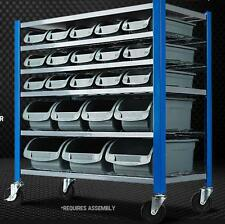 22 Bin Parts Rack Mobile Garage Storage Shelving Workshop 4 Wheels Ultra Frame