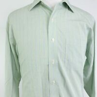 BROOKS BROTHERS 346 NON-IRON GREEN STRIPED BUTTON UP DRESS SHIRT MENS SZ 17 4/5