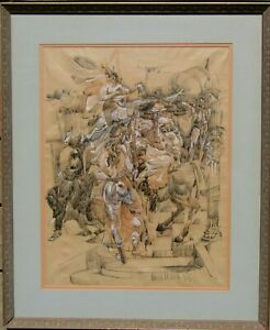 LISTED Eugene Berman Group of Surreal Figures Large OLD Watercolor Painting NR
