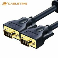 Cabletime VGA Cable 3+9C Braided Shielding VGA to VGA M/M 15 PIN For HDTV PC