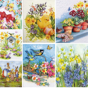 Decoupage Easter Napkins x4 Spring Flowers Bunnies Chicks Napkin DISCOUNTS AVAIL