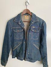 Blue Bell Wrangler Sanforized Denim Pleated Jacket Vintage Conmatic Conmar 36 38