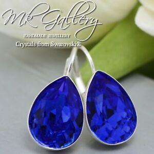 925 SILVER EARRINGS CRYSTALS FROM SWAROVSKI® PEAR FANCY STONE - MAJESTIC BLUE