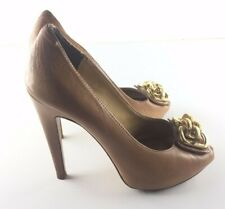 Nine West Brown Butterscotch Peep Toe Gold Link High Heel Pumps (Size 6M)