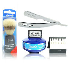 5 PIECE STAINLESS STEEL CUTTHROAT RAZOR SHAVING SET WITH FAST & FREE POSTAGE.