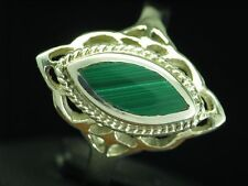 925 Sterling Silver Ring With Malachite Decorations / Real Silver/0.2oz / Rg