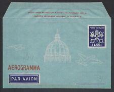 VATICANO 1950 Aerogramma 2A 55L Varietà Stampa Arancio NUOVO (E8)