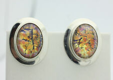 Sterling Silver .925 Mexico Yellow Diochroic Scenic Glass Clip On Earrings Z645