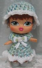 "BRATZ BABYZ 5"" Doll Clothes #15 Handmade Crochet Dress & Hat Set"