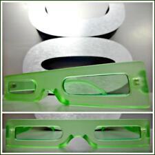 5e6543bd24 Futuristic Robot Space Retro Funky Style SUNGLASSES Thin Rectangular Green  Frame