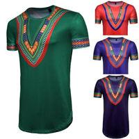 Men Summer Fashion African Print O-Neck Short Sleeve Slim T-shirt Top Blouse US