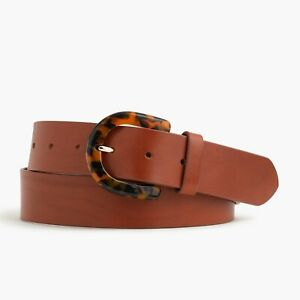 New J.CREW Size S Brown Leather Belt with Tortoise Buckle