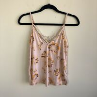 Free People Women's Size XS Pink Floral Sleeveless Strappy Tank Top