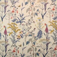 "BALLARD DESIGN ISABELLA BLUE FLORAL BOTANICAL BUTTERFLY FABRIC 2 YARDS 54"" W"