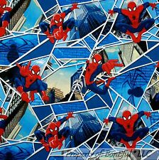 BonEful Fabric Cotton Quilt Blue Red White Super Hero Spiderman City SALE SCRAP