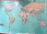 "Giant World Map 60"" x 37"" Wall Laminated Large Colorful Mega 1987 DHL"