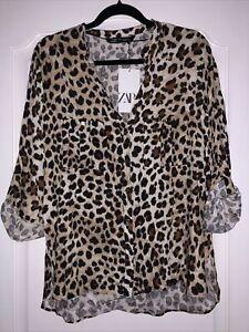 BNWT ZARA Shirt Leopard Print Size XL Bloggers