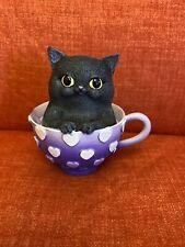 Nemesis Now Cute Black Cat/kitty Purple Teacup Collectors Ornament Figure