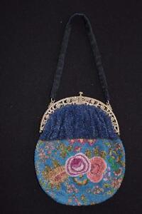 RARE VINTAGE 1920'S-1930'S FINE BEADED GLASS PURSE 8 INCHES BY 7 INCHES