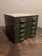 Vintage MidCentury Industrial Steel 10 Drawer File Parts Box Small Parts Bin
