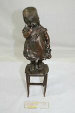 Depression Era 14-Inch Bronze Child Statue