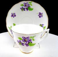 "MELBA CHINA ENGLAND PURPLE FLORAL AND GOLD TRIM 2 3/4"" CUP AND SAUCER SET"