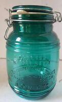 Cracker Barrel Green Glass Canister Jar 1 1/2 Quart