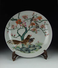 CHINA ANTIQUES FAMILLE ROSE PORCELAIN PLATE W FLOWER&BIRD