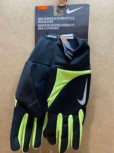Nike Large Womens Warm Dry STORM FIT 2.0 Run Gloves Black Neon Green 82556 B75
