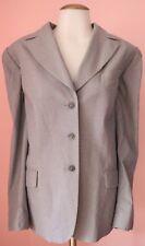 ESCADA 44 14 16 Cotton Dove Gray Blue Houndstooth Womens Vintage Blazer Jacket