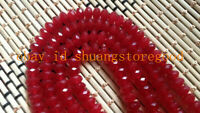 """AAA 5x8mm Natural Faceted Brazil Red Ruby Gemstone Round Loose Beads 15"""""""