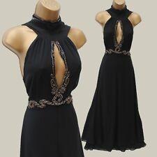 Unique Karen Millen Black Jewel Grecian Glamorous Maxi Cocktail Dress 12 UK 40